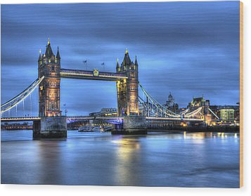 Wood Print featuring the photograph Tower Bridge London Blue Hour by Shawn Everhart