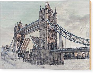 Wood Print featuring the digital art Tower Bridge by Pennie  McCracken