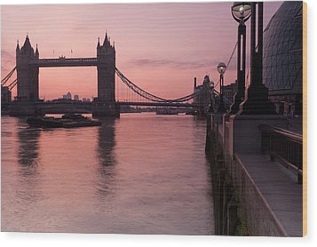 Tower Bridge Sunrise Wood Print by Donald Davis