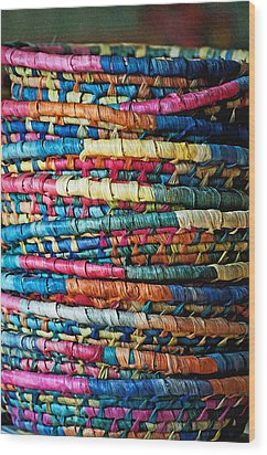 Wood Print featuring the photograph Tower Of Baskets by Gwyn Newcombe