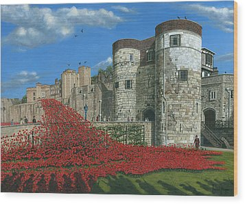 Tower Of London Poppies - Blood Swept Lands And Seas Of Red  Wood Print by Richard Harpum