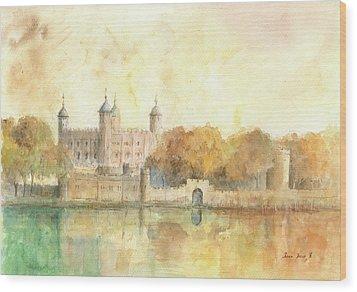Tower Of London Watercolor Wood Print by Juan Bosco