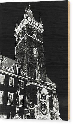 Wood Print featuring the photograph Tower Of Old Town Hall In Prague. Black by Jenny Rainbow