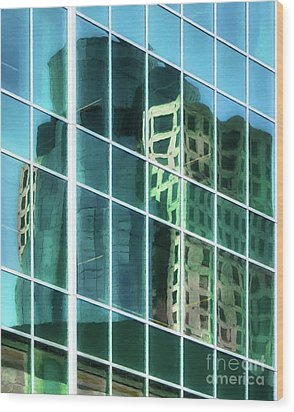 Tower Reflections # 3 Wood Print by Mel Steinhauer