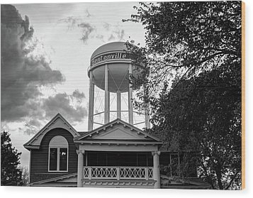 Wood Print featuring the photograph Towering Over Downtown Bentonville - Northwest Arkansas - Black - White by Gregory Ballos