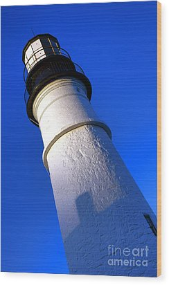 Wood Print featuring the photograph Towering Portland Head Light by Olivier Le Queinec