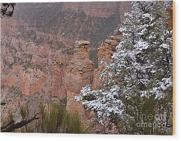 Towers In The Snow Wood Print by Debby Pueschel