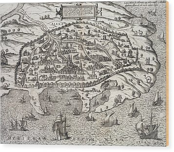 Town Map Of Alexandria In Egypt Wood Print by Unknown