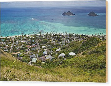 Town Of Kailua With Mokulua Islands Wood Print by Inti St. Clair