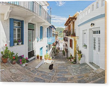 Town Of Skopelos Wood Print by Evgeni Dinev