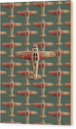 Toy Airplane Scrapper Pattern Wood Print by YoPedro