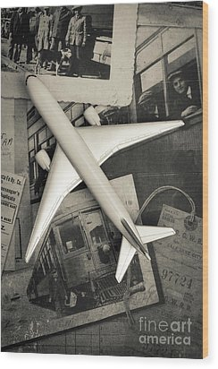 Toy Airplane Vintage Travel Wood Print by Edward Fielding