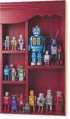 Toy Robots On Shelf  Wood Print by Garry Gay