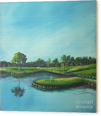 Tpc 17th Hole 2010 Wood Print by Michele Hollister - for Nancy Asbell