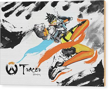 Tracer Overwatch Wood Print by Haze Long