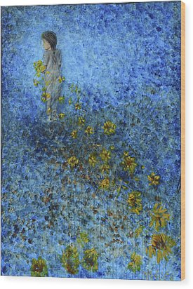 Wood Print featuring the painting Traces Sunflowers Lost by Nik Helbig