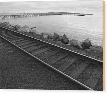 Wood Print featuring the photograph Tracks And Pier by Mark Alan Perry