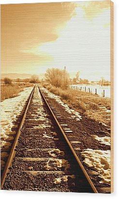 Tracks Wood Print by Caroline Clark