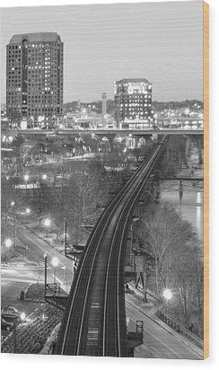 Tracks Into The City Wood Print