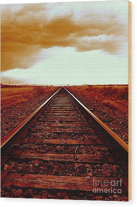 Marfa Texas America Southwest Tracks To California Wood Print by Michael Hoard