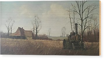 Wood Print featuring the painting Traction Engine. by Mike Jeffries