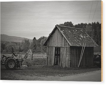 Tractor And Shed Wood Print by Mandy Wiltse