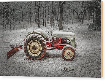 Tractor In The Snow Wood Print