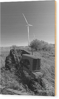 Tractor In The Wind Wood Print