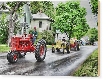 Tractors On Parade Wood Print