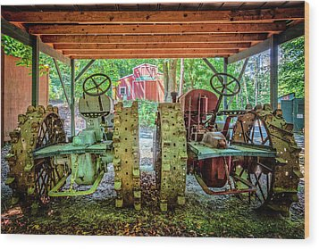 Wood Print featuring the photograph Tractors Side By Side by Debra and Dave Vanderlaan