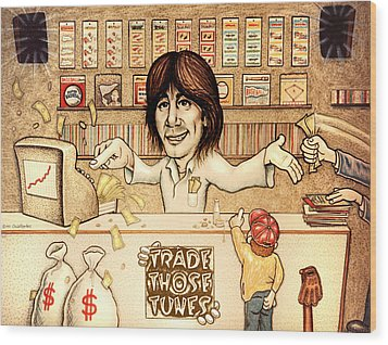 Trade Those Tunes Wood Print by Cristophers Dream Artistry