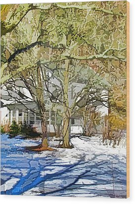 Traditional American Home In Winter Wood Print by Lanjee Chee