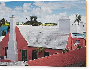 Traditional Bermuda Style House Wood Print by George Oze