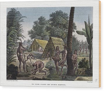 Traditional Customs Of The Chamorro Classes Wood Print by d Apres A Pellion