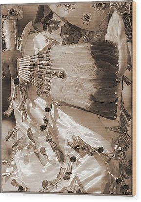 Wood Print featuring the photograph Traditional Dancer In Sepia by Heidi Hermes