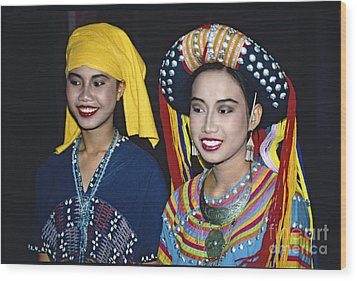 Wood Print featuring the photograph Traditional Dressed Thai Ladies by Heiko Koehrer-Wagner