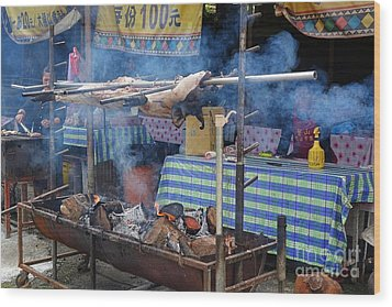 Wood Print featuring the photograph Traditional Market In Taiwan Native Village by Yali Shi