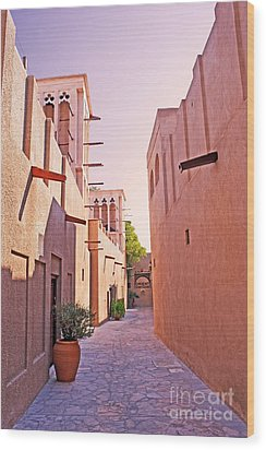 Traditional Middle Eastern Street In Dubai Wood Print by Chris Smith