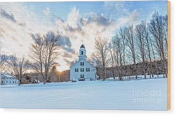 Wood Print featuring the photograph Traditional New England White Church Etna New Hampshire by Edward Fielding