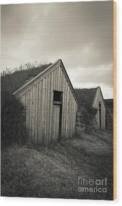 Wood Print featuring the photograph Traditional Turf Or Sod Barns Iceland by Edward Fielding