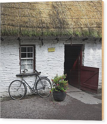 Traditional Thatch Roof Cottage Ireland Wood Print by Pierre Leclerc Photography