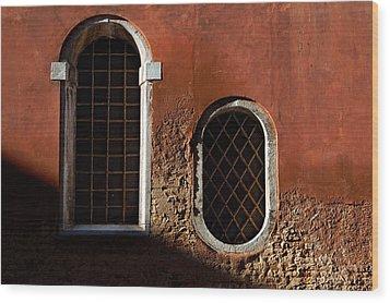 Traditional Venetian Windows Wood Print by George Oze