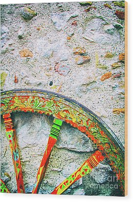 Wood Print featuring the photograph Traditional Sicilian Cart Wheel Detail by Silvia Ganora