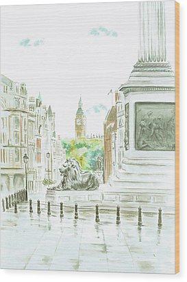 Wood Print featuring the painting Trafalgar Square by Elizabeth Lock