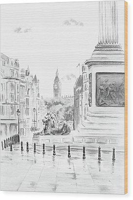Wood Print featuring the digital art Trafalgar Square II by Elizabeth Lock