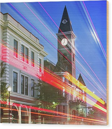 Traffic Along The Fayetteville Arkansas Skyline - Square Wood Print