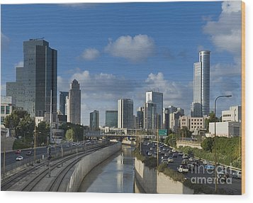 Traffic Flowing In And Out Of Downtown Tel Aviv Wood Print by Noam Armonn