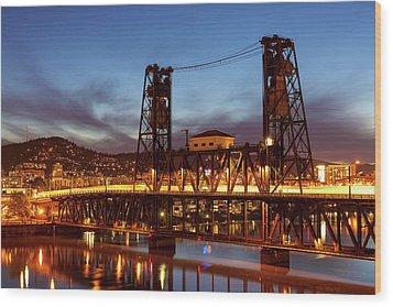 Traffic Light Trails On Steel Bridge Wood Print by David Gn