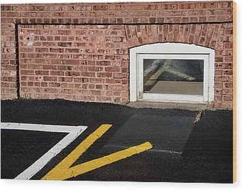 Wood Print featuring the photograph Traffic Line Conversion In Window by Gary Slawsky