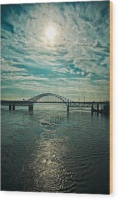 Traffic On The Bridge Wood Print by Michel Filion